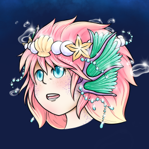 Pastel Mermaid OC Headshot